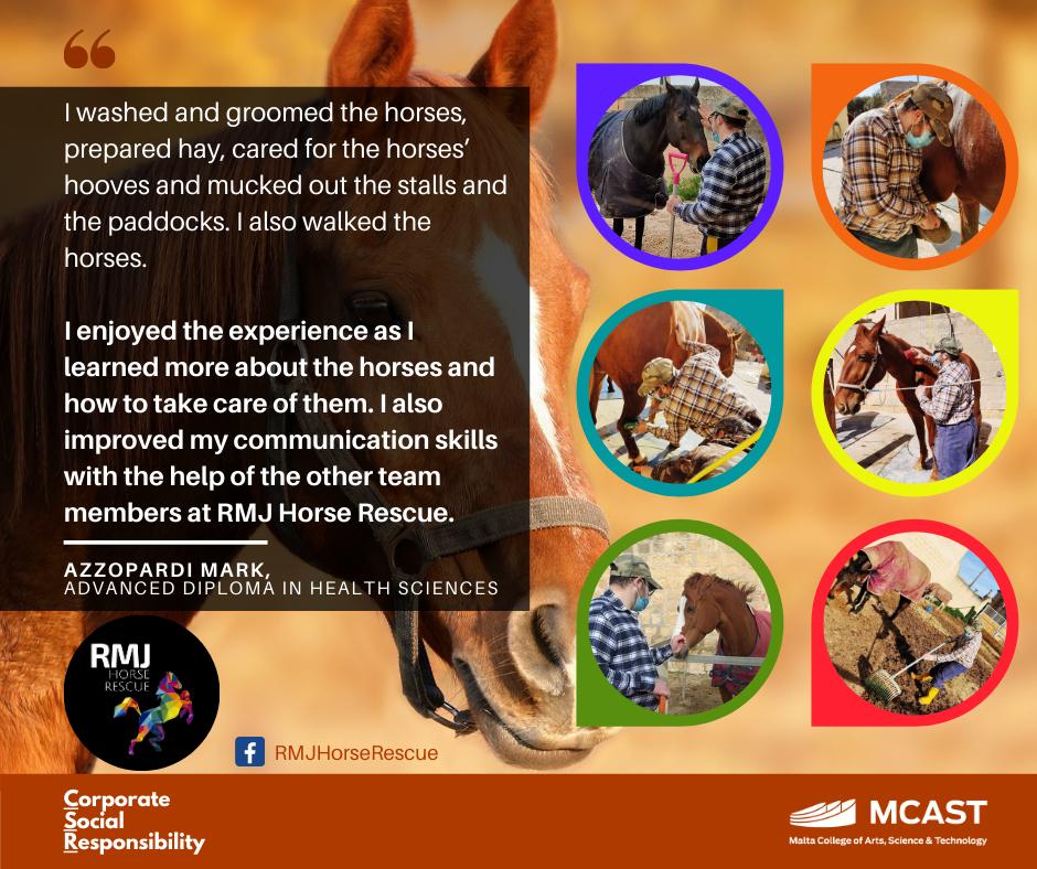 Azzopardi Mark - MCAST CSR Testimonial - RMJ Horse Rescue