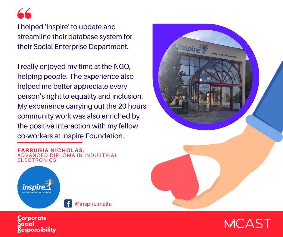 Farrugia Nicholas - MCAST CSR Testimonial - Inspire