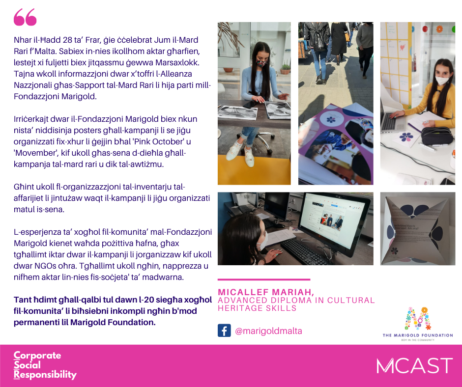 Micallef Mariah - MCAST CSR Testimonial
